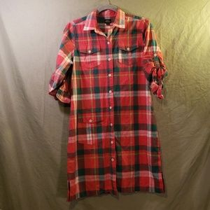 L.L. Bean flannel dress in size 10 with slits